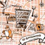 メビック扇町を通じて産まれたコラボ事例を紹介する冊子で「中之島SPINNING」様の紹介ページイラストを担当させて頂きました。